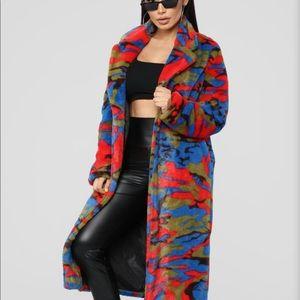 Camouflage fuzzy coat